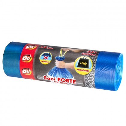 Saci menaj OTI FORTE cu snur 35L, albastru, 15 buc./rola