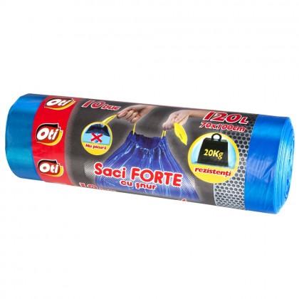 Saci menaj OTI FORTE cu snur 120L, albastru, 10 buc./rola