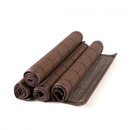 Set placemat bambus, margine textila, 4 buc./set, maro