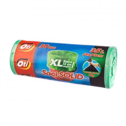 Saci menaj OTI SOLID 35L XL, verde, 30 buc./rola